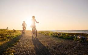 Картинка утро, прогулка, велосипедисты, Британская Колумбия, Richmond, Ричмонд, Cycling Parks & Beaches, велосипедный парк и пляж, …