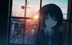 Картинка девушка, закат, окно, плачет