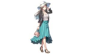 Картинка девушка, стиль, белый фон, шляпка