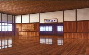 Картинка отражение, окна, иероглифы, деревянный пол, visual novel, додзё, Suuran Digit, спортивный зал, пустое пространство, by …