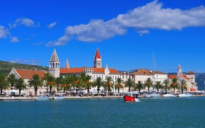 Картинка Трогир, Хорватия, пристань, город, море, лодки, набережная