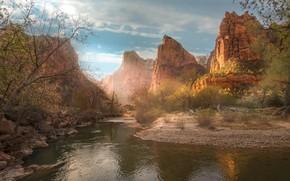 Картинка природа, озеро, скалы