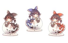 Картинка белый фон, жрица, чибики, Hakurei Reimu, Touhou Project, Проект Восток, by Bluch