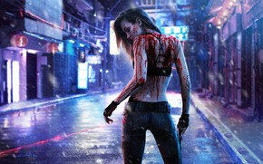 Картинка Girl, Dark, Blood, Cyberpunk, 2077