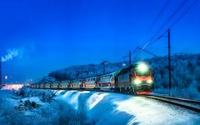 Картинка lights, clear sky, trees, landscape, photographer, winter, snow, evening, train, railway, locomotive, chimney, wagons, Krylov …
