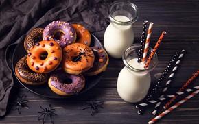 Картинка пауки, молоко, Halloween, Хэллоуин, пончики, выпечка, сладкое, sweet
