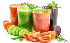 Картинка зелень, коктейль, овощи, помидоры, огурцы, смузи, моркоаь