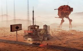 Картинка дорога, горы, пустыня, сооружение, UFO Radio
