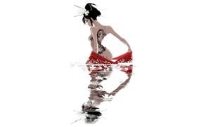 Картинка Вода, Отражение, Девушка, Минимализм, Япония, Азиатка, Japan, Тату, Гейша, Японка, Татуировка, Арт, Illustration, Characters, Geisha, …