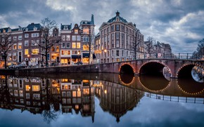 Картинка мост, отражение, здания, дома, Амстердам, канал, Нидерланды, Amsterdam, Netherlands, Канал Кайзерграхт, Keizersgracht Canal