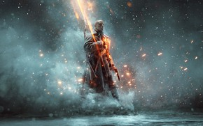 Картинка туман, пистолет, солдат, пальто, Battlefield 1