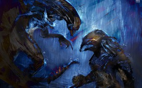 Картинка фон, Чужой, Хищник, битва, alien, predator