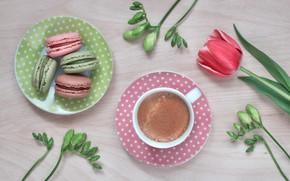 Картинка цветы, тюльпан, кофе, печенье, macarons, Anya Ivanova