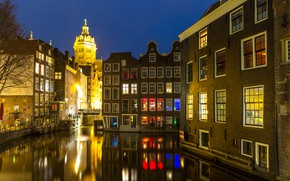 Картинка ночь, city, город, lights, огни, река, Амстердам, panorama, night, Amsterdam, Голландия, Netherlands, cityscape, Canal