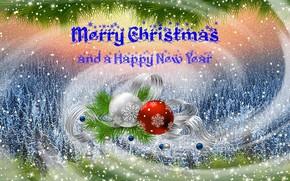 Картинка шарики, снег, снежинки, ленты, праздник, Новый Год, искры, Рождество, зимний лес, снежный фон, прздничная открытка, …