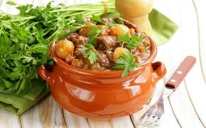 Картинка зелень, мясо, горшочек, картофель, рагу