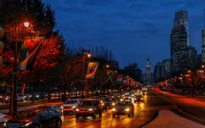 Картинка фото, Дома, Вечер, Город, Осень, Дороги, Флаг, фонари, США, Philadelphia