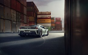 Картинка машина, небо, Ferrari, контейнеры, Novitec, 488, Pista