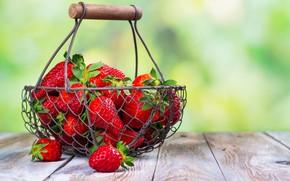 Картинка лето, ягоды, клубника, корзинка, спелая