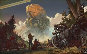 Картинка люди, мотоциклы, шлем, harley-davidson, on my way