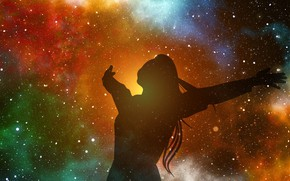 Картинка звезды, радость, силуэт, stars, fantasy art, joy, silhouette, познание, knowledge, фэнтези арт, миллиарды звезд, необъятный …