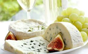 Картинка сыр, виноград, инжир