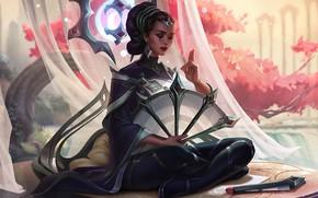 Картинка girl, fantasy, flowers, mood, peach, League of Legends, asian, digital art, Princess, artwork, fantasy art, …