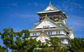 Картинка небо, деревья, замок, Япония, Japan, Osaka, Осака, Osaka Castle, Osaka-Jo