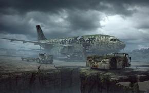 Картинка транспорт, самолёт, провал, vegetation, Technique
