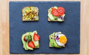 Картинка яйцо, клубника, хлеб, овощи, помидоры, бутерброды