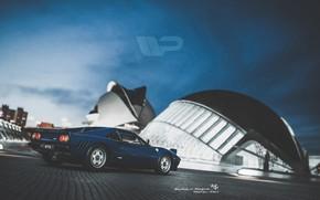 Картинка Ночь, Синий, Город, Машина, Ferrari, Суперкар, Спорткар, Gran Turismo, Ferrari GTO, Ferrari 288 GTO, Transport …