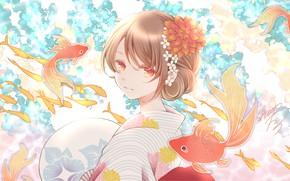 Картинка девушка, рыбы, золотые рыбки