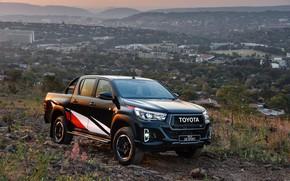 Картинка фото, Черный, Toyota, Пикап, Автомобиль, Hilux, Sport, Double Cab, 2019