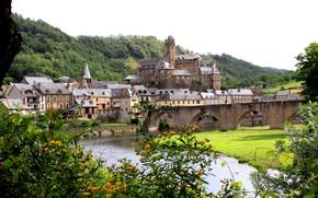 Картинка город, Франция, France, старый город, Аверон, Aveyron, средневековая архитектура, река Лот, Эстен, Estaing Old town …