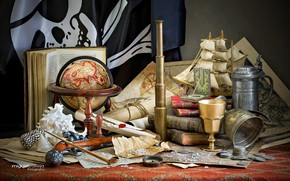 Картинка карты, корабль, книги, трубка, ракушки, монеты, натюрморт, компас, подзорная труба, глобус, кубок, свитки, пиратский флаг