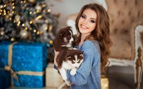 Картинка собаки, лицо, улыбка, настроение, модель, щенки, Новый год, хаски, Наталья Найденко, Юлия Можайская (Юлия Катурина)