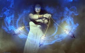 Картинка женщина, дым, цепи, Magic the Gathering, REVIVING VAPORS