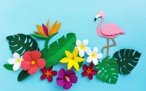 Картинка цветы, рендеринг, узор, colorful, фламинго, flowers, композиция, rendering, paper, composition, floral