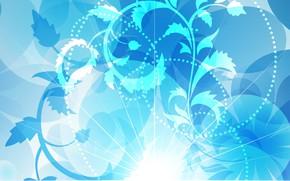Картинка фон, текстура, Blue, design, background, floral