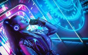 Картинка Девушка, Музыка, Неон, Фон, Neon, Cyber, Cyberpunk, Synth, Retrowave, Synthwave, New Retro Wave, Futuresynth, Синтвейв, …