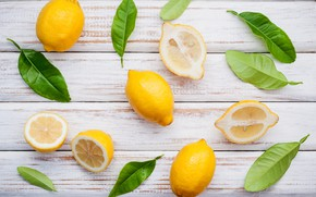 Картинка листья, лимон, lemon, fresh, wood, leaves, fruit, slice