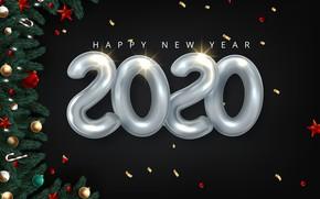 Картинка украшения, шары, елка, Рождество, Новый год, New Year, 2020
