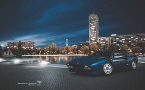 Картинка Авто, Ночь, Синий, Город, Машина, Ferrari, Суперкар, Спорткар, Gran Turismo, Ferrari GTO, Ferrari 288 GTO, …