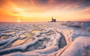 Картинка зима, море, закат, берег, маяк