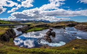 Картинка лето, небо, облака, речка, Исландия
