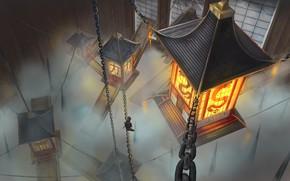 Картинка Рисунок, Дым, Япония, Фонари, Japan, Цепи, Лампы, Арт, Art, Фантастика, Concept Art, Architecture, Feudal Japan, …