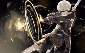 Картинка оружие, мальчик, NieR Automata, YoRHa No 9 Type S