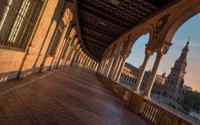Картинка башня, галерея, колонны, Испания, Spain, Севилья, Plaza de España, Seville, Площадь Испании