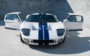 Картинка Белый, Суперкар, Передок, Американский автомобиль, Синие полосы, 2005 Ford GT