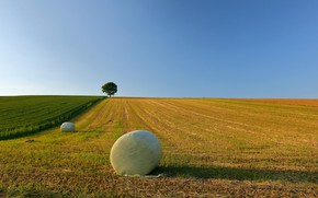 Картинка поле, небо, сено